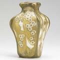 Riessner stellmacher  kessel glazed amphora porcelain foursided vase with maiden stamped amphoraturn1326fr turnteplitz bohemia rstk made in austria 8 x 5