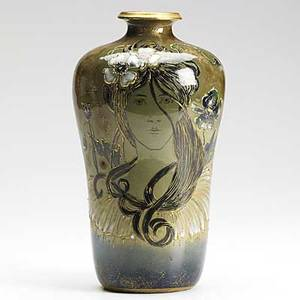 Riessner stellmacher  kessel glazed and enameled amphora porcelain vase with maiden and blossoms stamped turnteplitz bohemia rstk 9 x 5