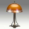 Roycroft steuben hammered copper threesocket lamp base with art glass shade orb and cross mark 16 12 x 10 14