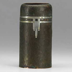 Dard hunter roycroft hammered copper and nickel silver secessionist vase orb and cross mark 6 x 3