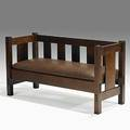 Gustav stickley hall settee no 205 with dropin spring seat red decal 30 x 56 x 22