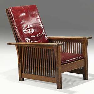 Gustav stickley spindled morris chair with dropin spring seat red decal 39 x 30 x 36