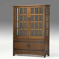 L  jg stickley fourdoor cabinet with fixed shelves and strap hardware handcraft label 70 12 x 50 x 16 12