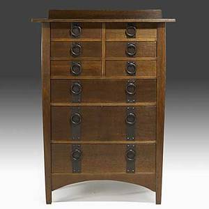 Harvey ellis gustav stickley tall ninedrawer chest of drawers no 913 with hammered strap hardware c 191012 paper label and red decal 50 34 x 36 x 20