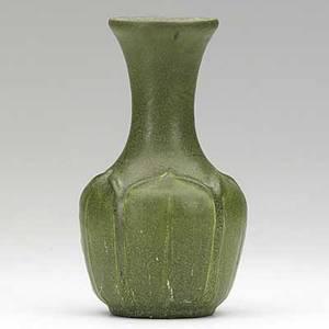 Marie seaman grueby bottleshaped vase with green leaves matte green glaze circular faience stamp ms 6 14 x 3 12