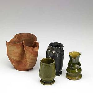 George ohr four vessels all marked largest 4 14 x 5 12