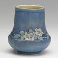A f simpson newcomb college vase with pink trumpet flowers 1917 nc jm afs 272 is66 5 14 x 4 34