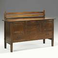 Gustav stickley sideboard no 814 variant with plate rack unusual exposed throughtenons red decal and paper label 38 x 66 x 24 to top 48 12