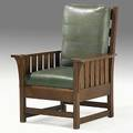 L  jg stickley heavy slatted fixedback chair with dropin spring seat unmarked 42 x 31 12 x 29