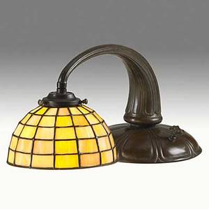 Handel leaded glass and bronze piano lamp base and shade stamped handel 8 x 18 x 8