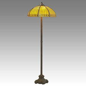 Handel slag glass and patinated bronze floor lamp shade and base stamped handel 65 x 22