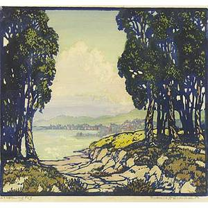 Frances h gearhart color woodblock print incoming fog matted and framed pencil titled and signed image 10 x 11
