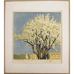 Gustave baumann color woodblock print processional 1936 matted and framed pencilsigned and titled  1875 dated original paper label on back image 13 x 12 34
