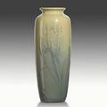 Matthew daly rookwood relief iris glaze vase with hiacynths 1900 flame mark 604 c m a daly 12 x 4 12