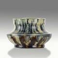 George ohr squat vessel of white mobile clay yellow indigo and green glaze stamped ge ohr biloxi miss 3 x 4 12