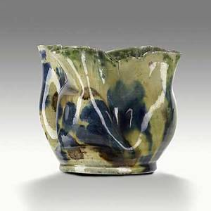 George ohr dimpled and ruffled vessel of white mobile clay indigo yellow and mahogany sponged glaze stamped geohr biloxi miss 3 12 x 4