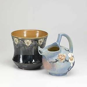 Art pottery royal doulton art nouveau vase in bluegreen glaze together with roseville magnolia pitcher taller 10
