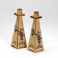 Weller pair of klyro candlesticks impressed weller remnants of paper label 9 12