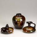 Weller louwelsa vase and two ewers one painted by h ross one signed h ross all with impressed marks vase 6 x 5 34