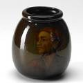 Weller portrait vase painted by burgess of a youth some glaze scaling 8 x 7 dia