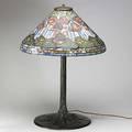 Tiffany style contemporary table lamp with leaded poppy shade and trunkshaped bronze 4light base 28 12 x 20 34 dia
