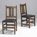 Stickley bros pair of side chairs each with two vertical back slats and leather seat 36 x 18 x 17