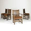 L  jg stickley set of four dining chairs one arm and three side each with five vertical backslats and dropin seat some looseness work of decal 36 x 27 x 22