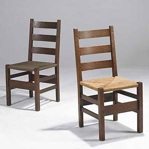 Stickley bros attr married pair of ladder back armchairs each with rush seat 36 x 17 x 17