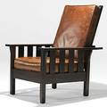 L  jg stickley onondaga shops attr morris chair loose leathercovered cushions unmarked as shown 40 x 34 x 34