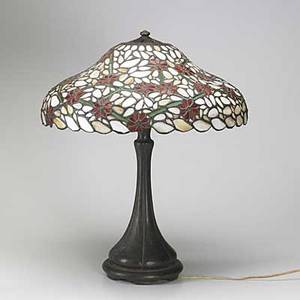Handel bronze table lamp base with handel style floral shade base signed handel 23 12 x 19 dia