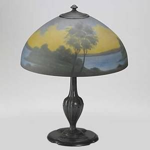 Jefferson table lamp with hemispheric shade reversepainted with a landscape and bronze base shade signed jefferson chip to rim 21 x 16 dia
