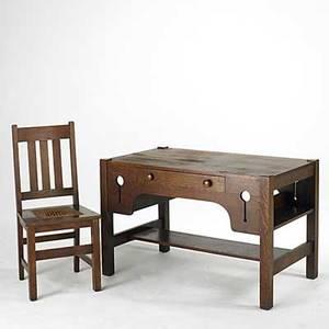 Arts  crafts singledrawer desk with bookshelf sides and slatted side chair desk 29 x 46 12 x 26 12