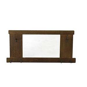 Paine furniture co hanging hall mirror with oak frame and brasswashed hooks paine decal 21 x 44