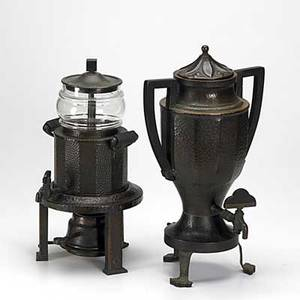 Joseph heinrichs hammered copper two piece samovar set complete with percolator and sterno holder each marked taller 15 12 x 9 12 x 8 34