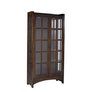 Contemporary stickley two door illuminated china cabinet in the style of stickley with four adjustable glass shelves metal tag 79 x 38 x 15