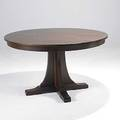 Contemporary stickley pedestal dining table with shoe feet two 15 leaves metal tag closed 30 x 52 dia