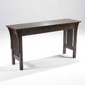 Contemporary stickley spindled console table in the style of l  jg stickley metal tag 28 12 x 54 x 16