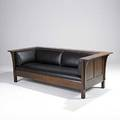 Contemporary stickley contemporary prairie settle in the style of l  jg stickley metal tag 29 x 84 12 x 37 12
