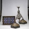 Arts  crafts style group tiled tray with carved wood frame and contemporary billiards table lamp with two leaded glass shades lamp 27 12 x 35 x 14 12