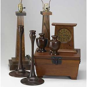 Contemporary stickley etc eight pieces mantle clock and two pair turned wood candlesticks all marked together with pair of oak prairie style table lamps and similar humidor lamps 27 x 16 sq