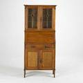 English arts  crafts dropfront secretary with leaded glass doors missing shelves unmarked 66 x 30 x 12 12