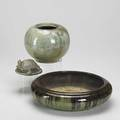 Fulper rookwood fulper spherical vase and low bowl together with a rookwood turtle paperweight all marked low bowl 3 38 x 10