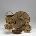 Native american baskets six includes papago pima mission etc 20th c largest 13