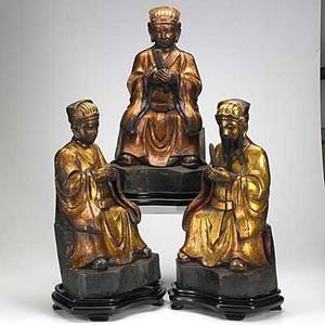 Asian wood figures three seated wisemen each with gilt highlights and authentic facial hair 20th c tallest 20