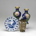 Asian four pieces pair of floral cloisonne vases chinese blue and white plate satsuma bud vase with blue ground tallest 8