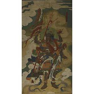 19th c chinese painting on silk pigment and gold on silk mounted to canvas depicting the lucky god general 80 x 45 provenance letter of provenance accompanies the art work
