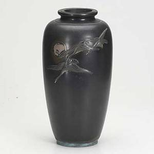Japanese bronze vase three geese flying in front of the moon meiji period signed on base 14 12
