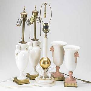 Five table lamps pair of classical design urns pair of midcentury vases and a candlestickshaped piece with three children at the base all 20th c tallest 29 to top of finial