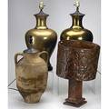 Decorative lighting four table lamps pair of brass urns terra cotta oil jar and pierced copper brass urns 26 12