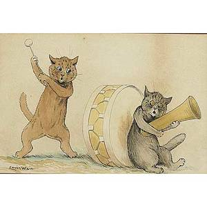 Louis william wain british 18601939 discord ink and watercolor drawing framed signed 8 x 12 together with winnie the pooh copies in watercolor and ink each framed